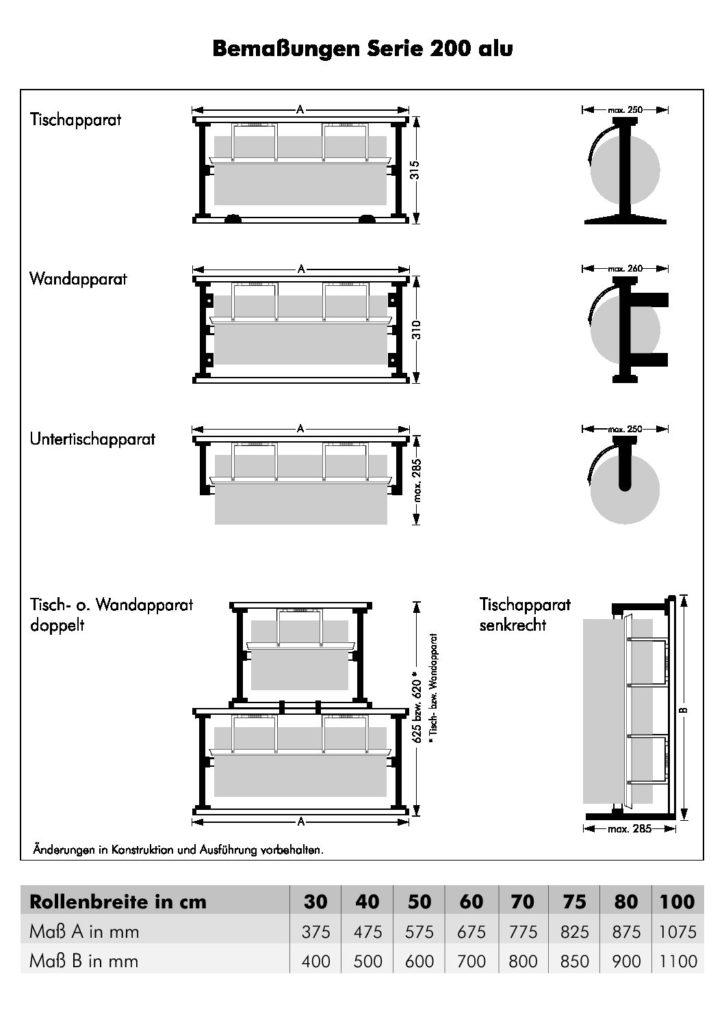 Tischapparat Senkrecht - Papierabrollapparat: Serie 200 Alu