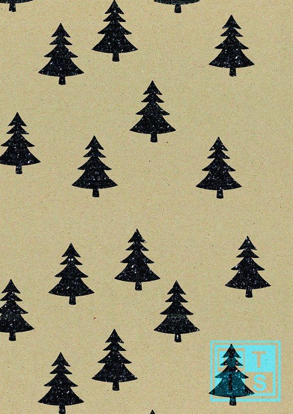 Glitzern Weihnachtspapier K1591580 Glitter Forest Black MTpapier