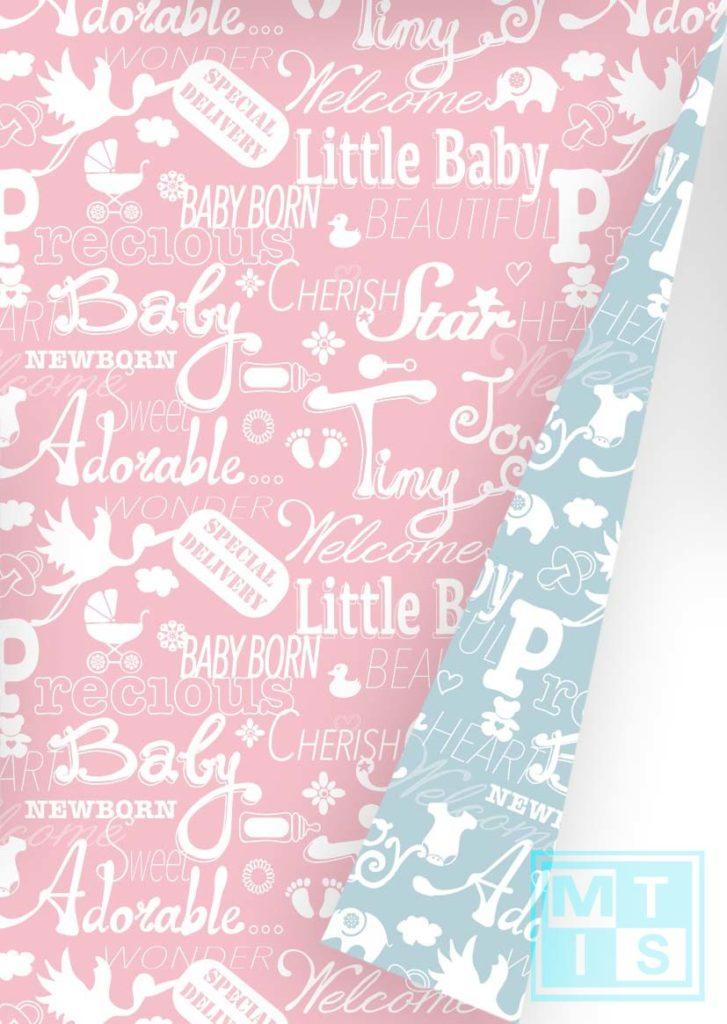 Geschenkpapier hellblau/rosa K601449-1 MTgeschenkpapier