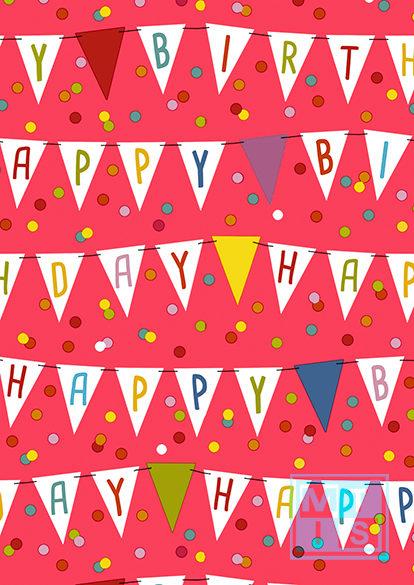 Geschenkpapier Geburtstag: Happy Birthday Fahnen K601642/5