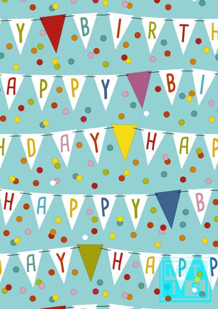 Geschenkpapier Happy Birthday Fahnen 601642
