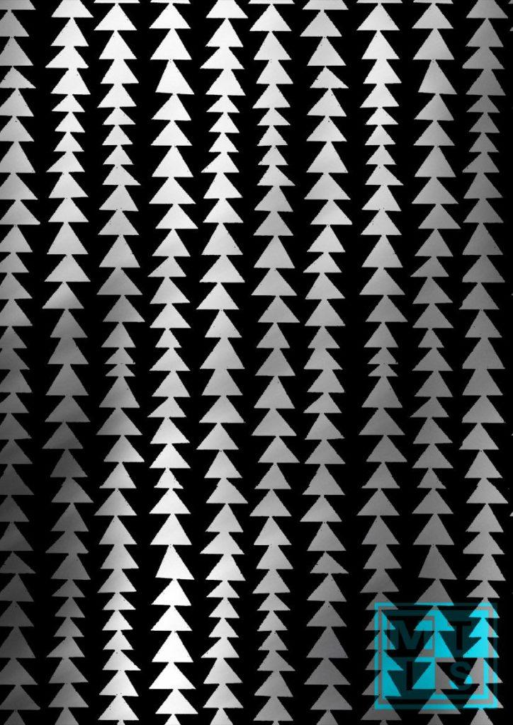 Weihnachtspapier Modern Forest Black/Silver K691661-2
