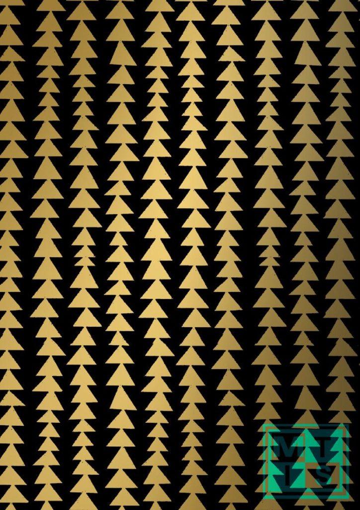 Weihnachtspapier Modern Forest Black/Gold K691661-3