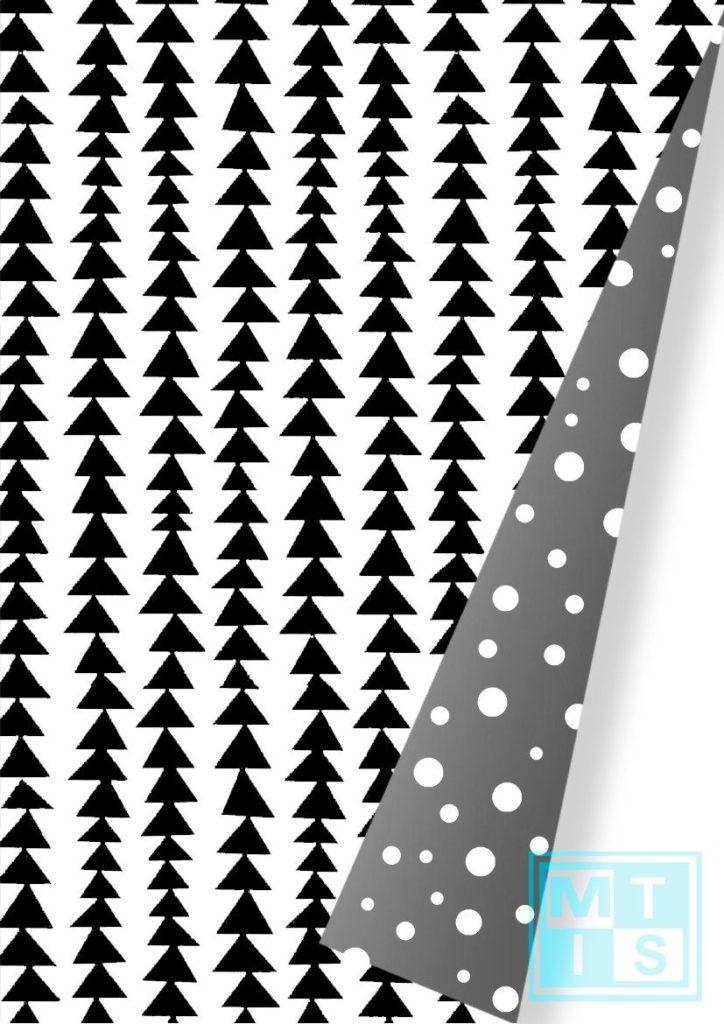 Weihnachtspapier: Modern Forest Black/Silver K691662-4 MTgeschenkpapier