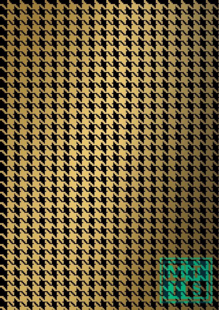 Weihnachtspapier Pied De Poule Black/Gold K69343/19 MTgeschenkpapier