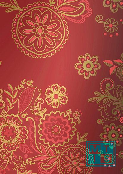 Geschenkpapier Blumen Bordeaux und Gold K801576/2