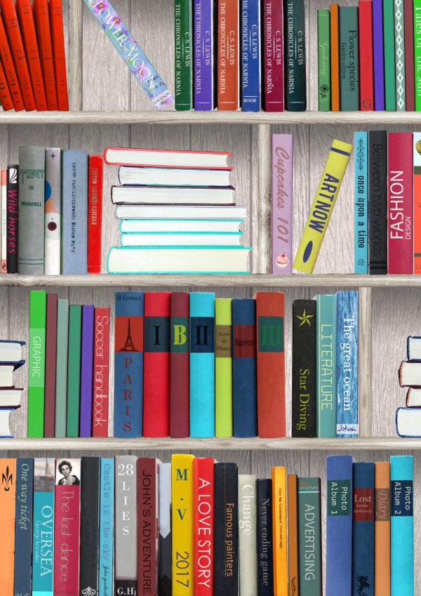Geschenkpapier Bücher Bibliothek