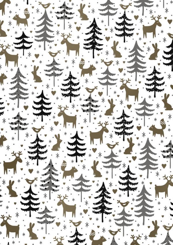 Geschenkpapier Weihnachtsbäume mit Tiere K891878