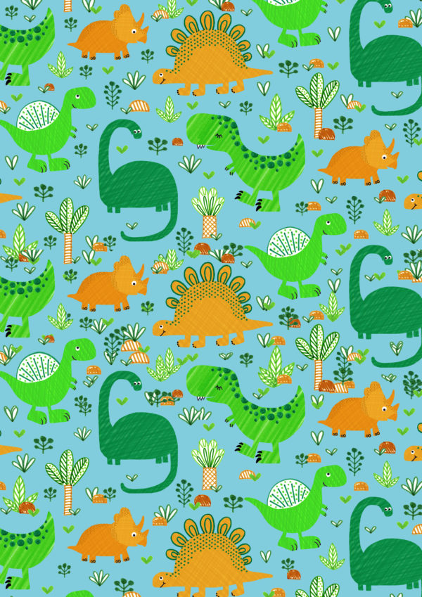 Funny Dino Kindergeschenkpapier