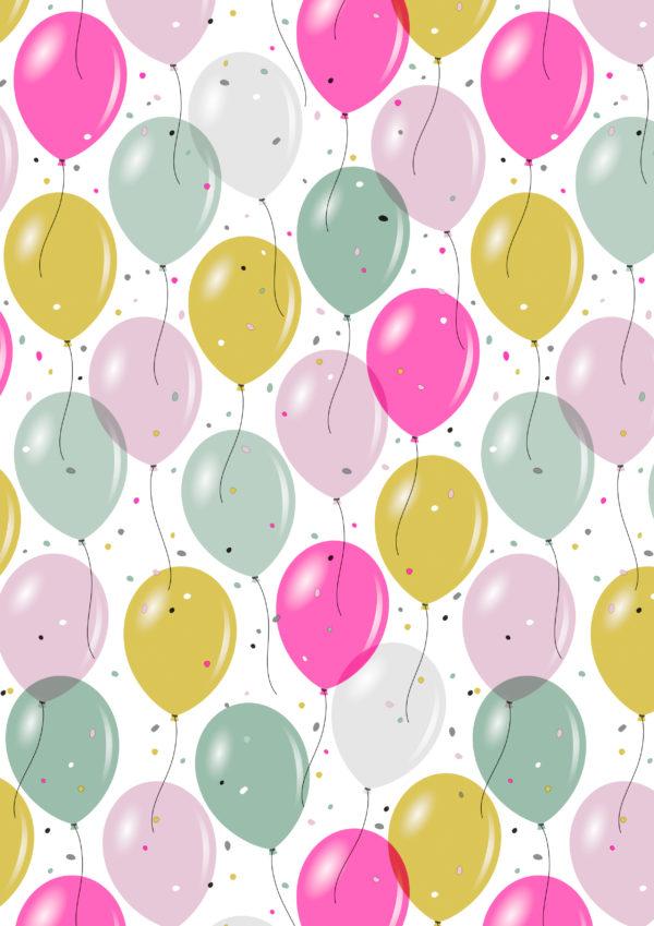 Konfetti und Luftballons Geschenkpapier