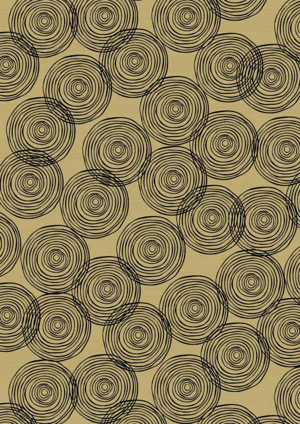 Geschenkpapier Kreise Schwarz auf Braun K401759-3