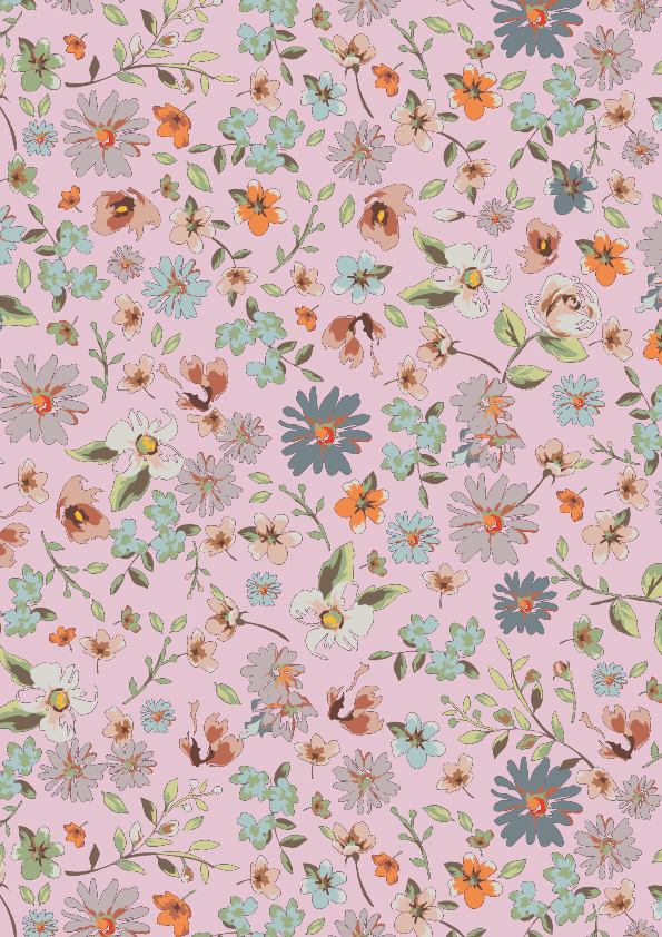 Geschenkpapier mit Blumen, Rosa K601755-2