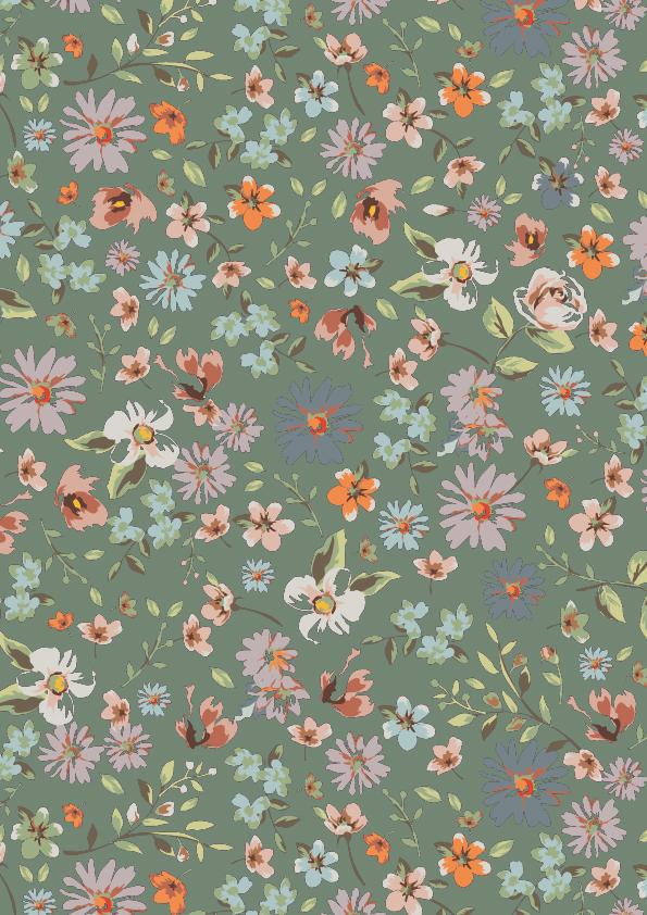 Geschenkpapier mit Blumen, Grün K601755-3
