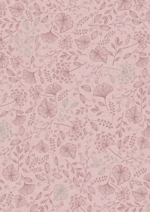 Geschenkpapier mit Zweige, Rosa K601757-2