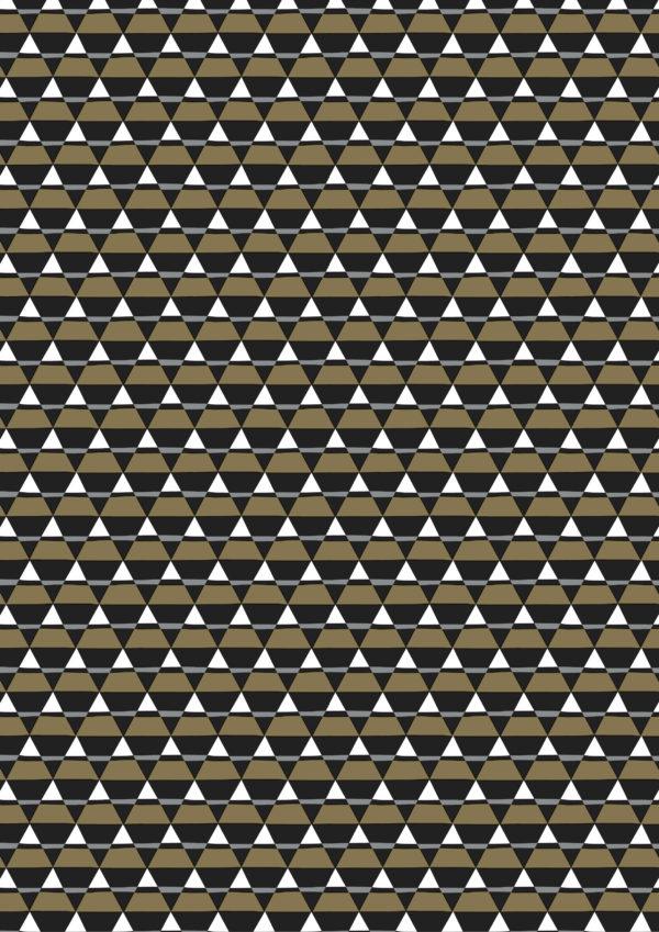 Geschenkpapier Dreiecke Schwarz Gold
