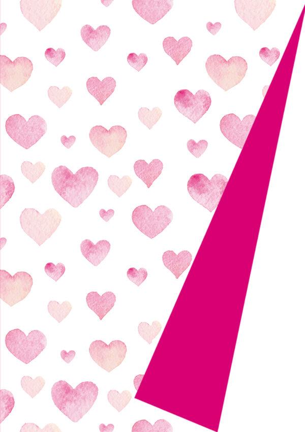 Rosa Herzen Geschenkpapier K602015