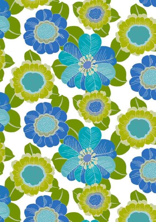 Geschenkpapier C4038 Blumen Blau Grün Annabelle
