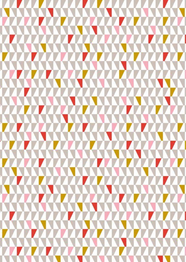 Geschenkpapier C4024 Dreiecke in Rot und Silber