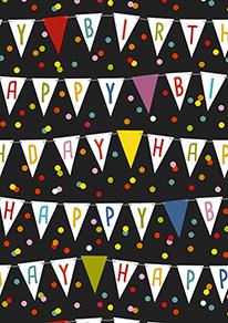 Geschenkpapier Geburtstag: Happy Birthday Fahnen K601642/1 C4003