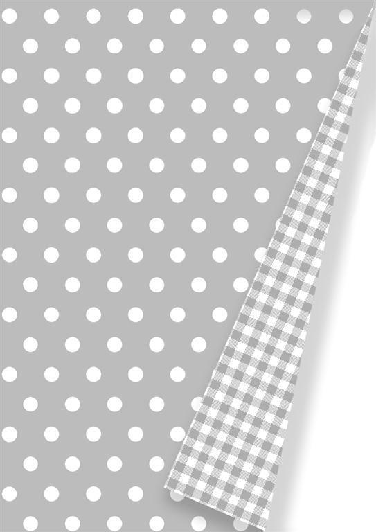 Geschenkpapier C4022 Grau Kariert und Punkte