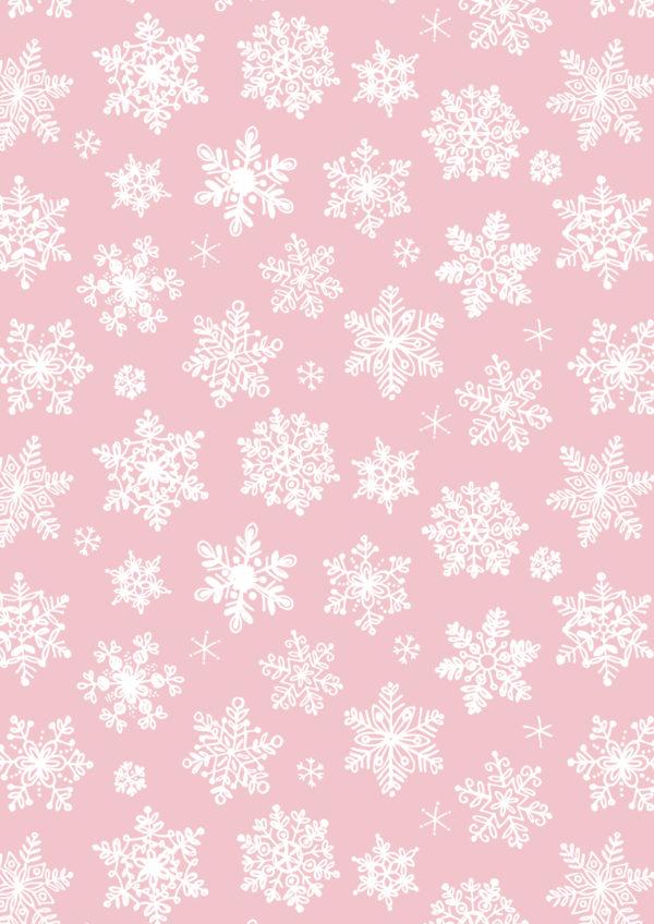 Geschenkpapier Schnee Rosa