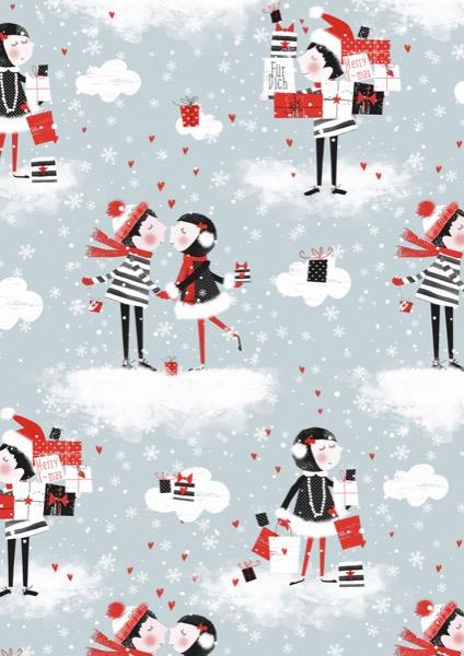 Weihnachten Einpackpapier Kiss Blue