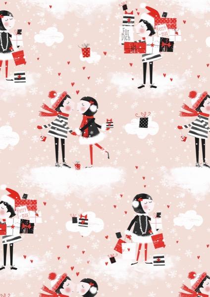Weihnachten Einpackpapier Kiss Pink