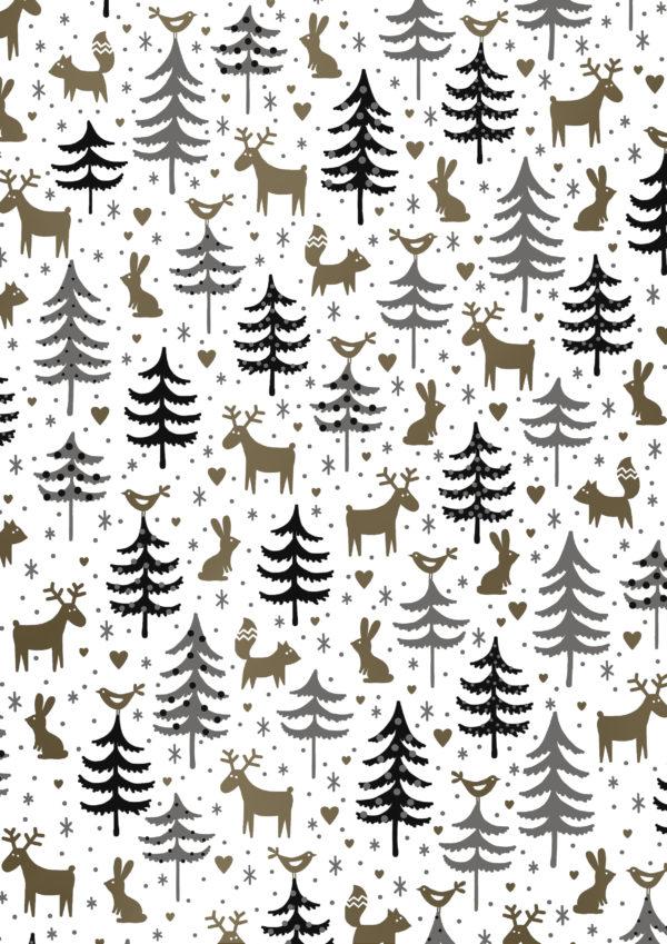 Geschenkpapier Weihnachtsbäume und Rentiere Weiss Gold