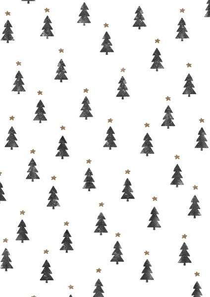 Kerstpapier Kleine Kerstbomen Zwart Wit K691775/1