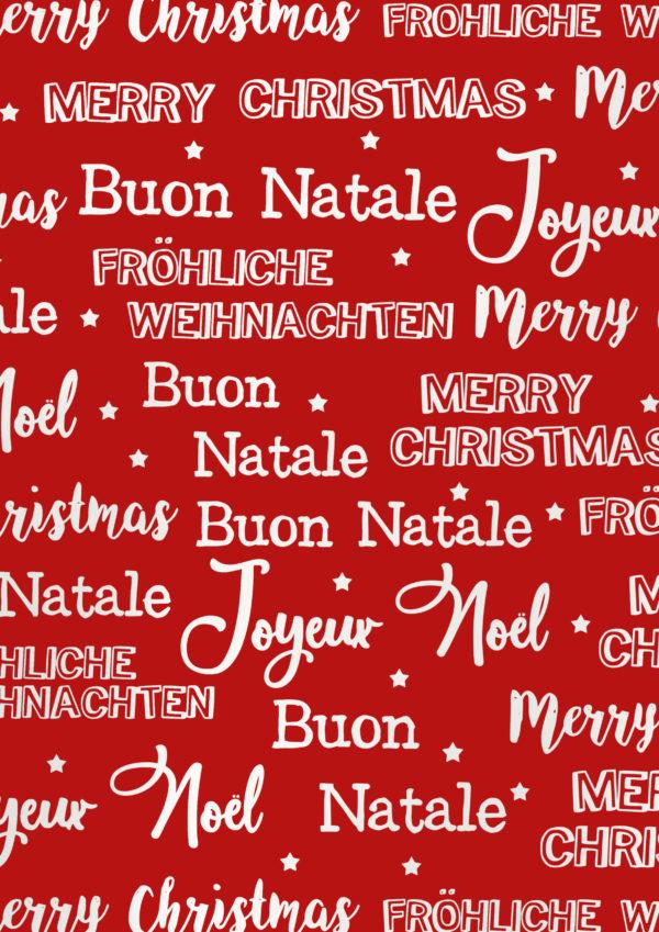 Geschenkpapier Merry Christmas Metallic Rot Weiss