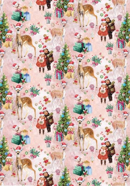 Kerst cadeaupapier Xmas Poetry Roze K691786