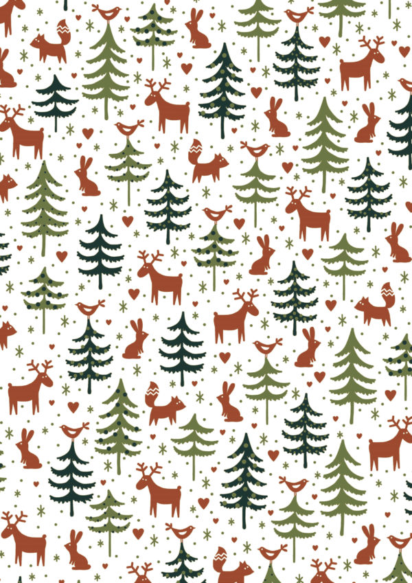 Weihnachtsgeschenkpapier Rentier Grün Braun