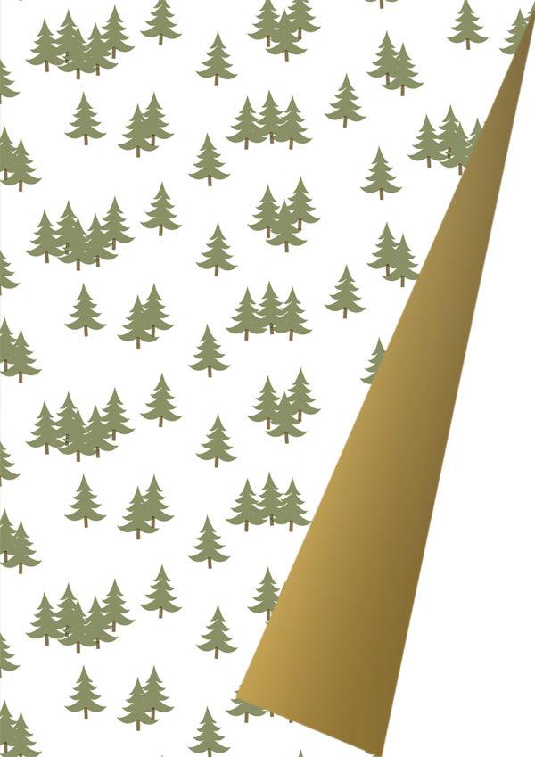 Dubbelzijdig Kerst inpakpapier met kerstbomen