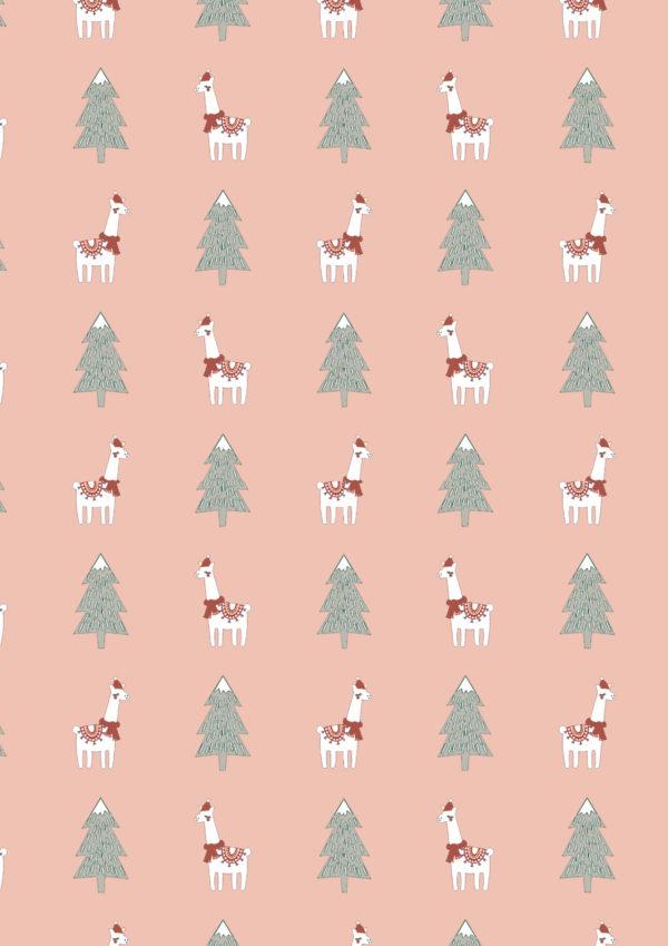 Cadeaupapier kerst roze lama Xmas