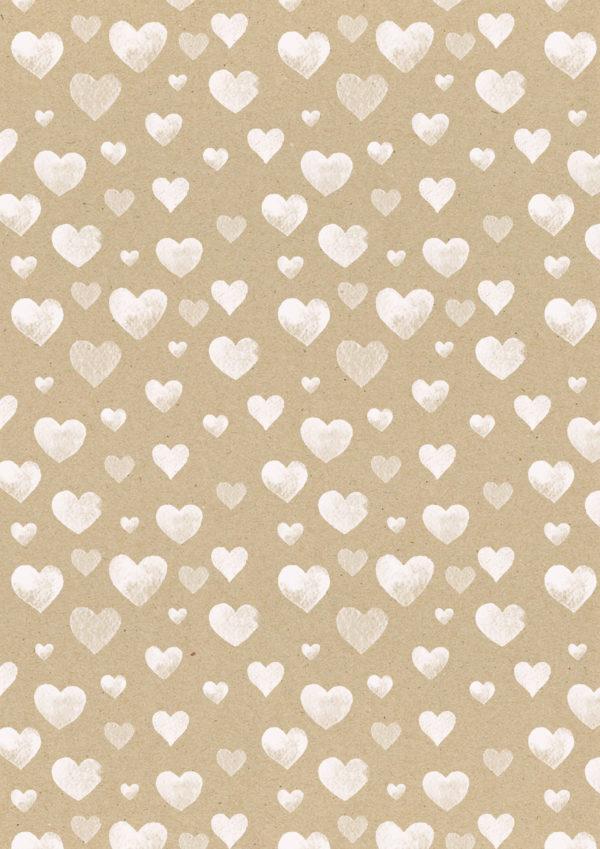 Geschenkpapier Braun mit weißen Herzen