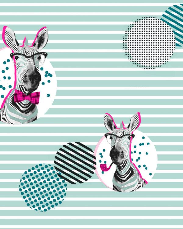 Geschenkpapier Zebra Mint Neon
