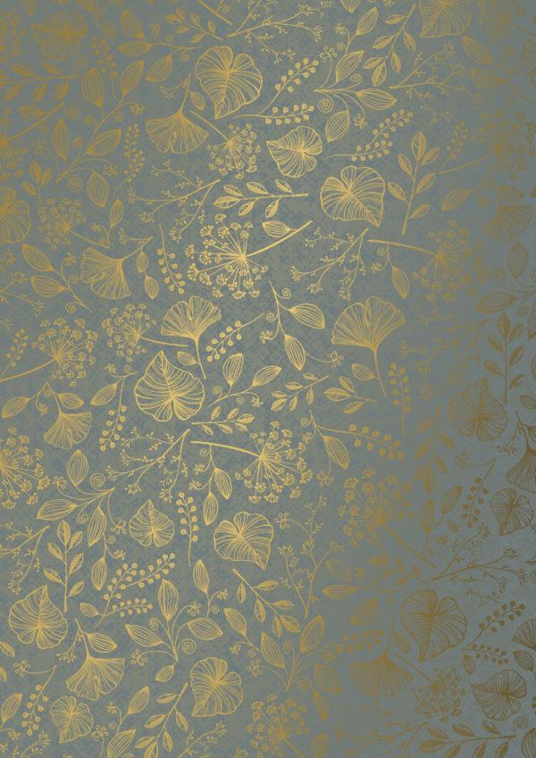 Grau-Gold-Geschenkpapier mit Blättern
