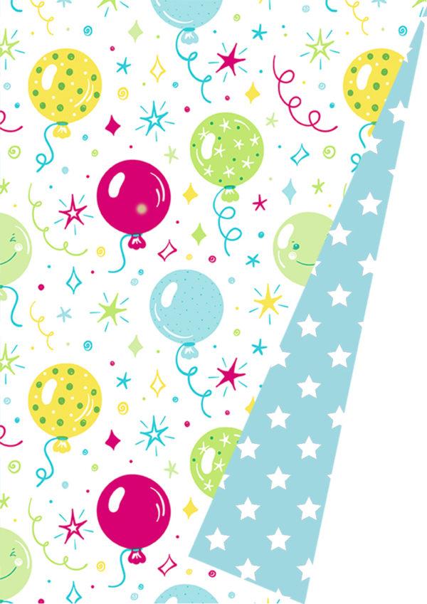 Doppelseitiges Geschenkpapier Ballon Party