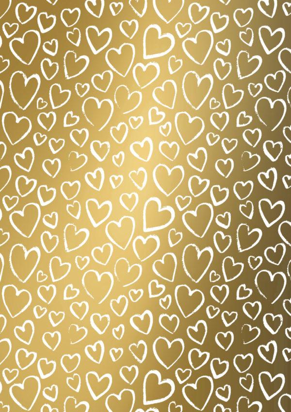 Geschenkpapier Gold mit weißem Herz