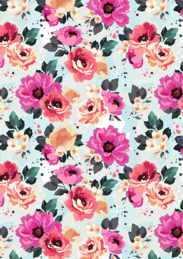 Geschenkpapier mit bunten Sommerblumen
