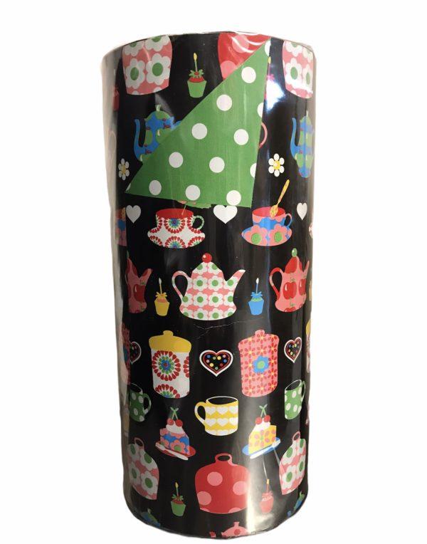 Doppelseitiges Kraftpapier Teetassen Schwarz C4102