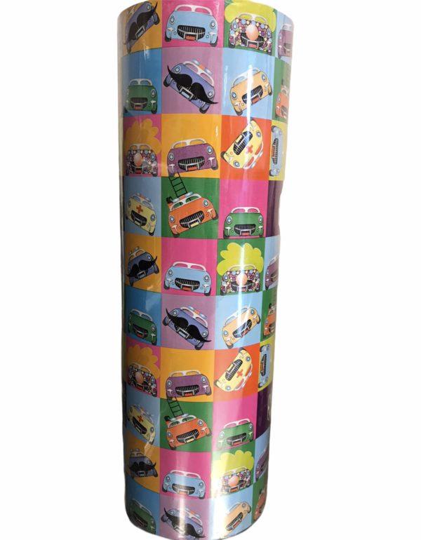 Geschenkpapier mit bunten Autos C4105
