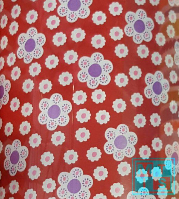 Rotes Geschenkpapier mit Blumen C4104