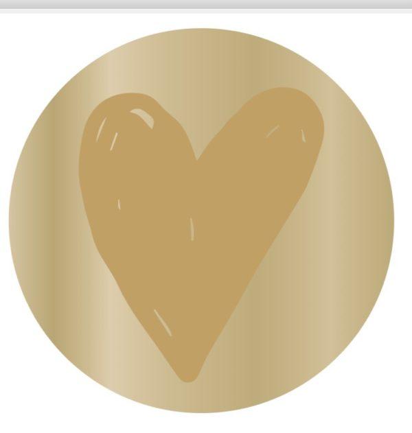 Geschenkaufkleber Herz rund gold