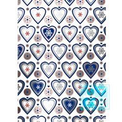 Weißes Geschenkpapier Herzen blau C4159