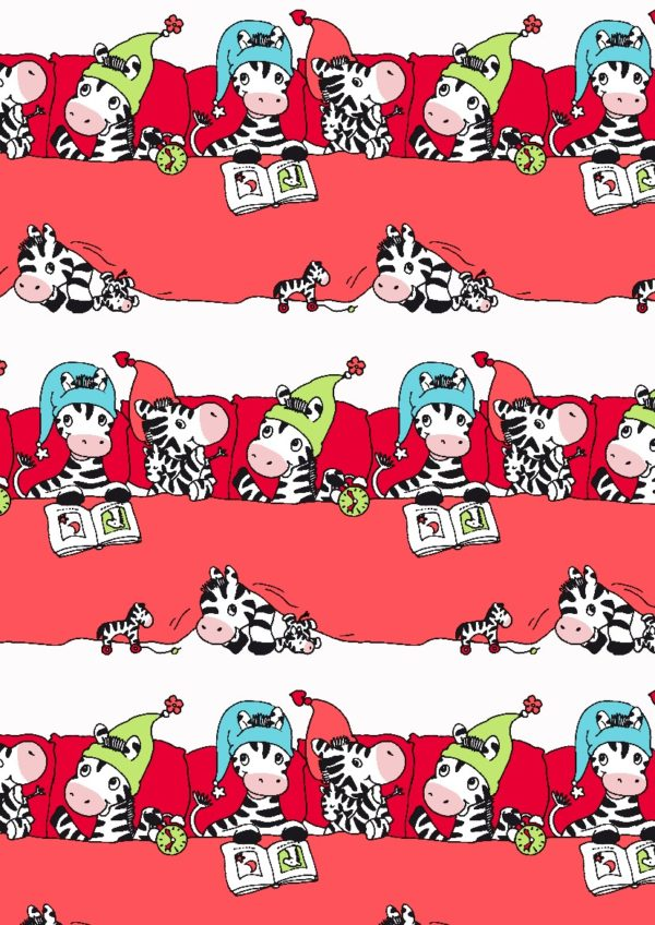 Rotes Geschenkpapier mit Zebras Kinder