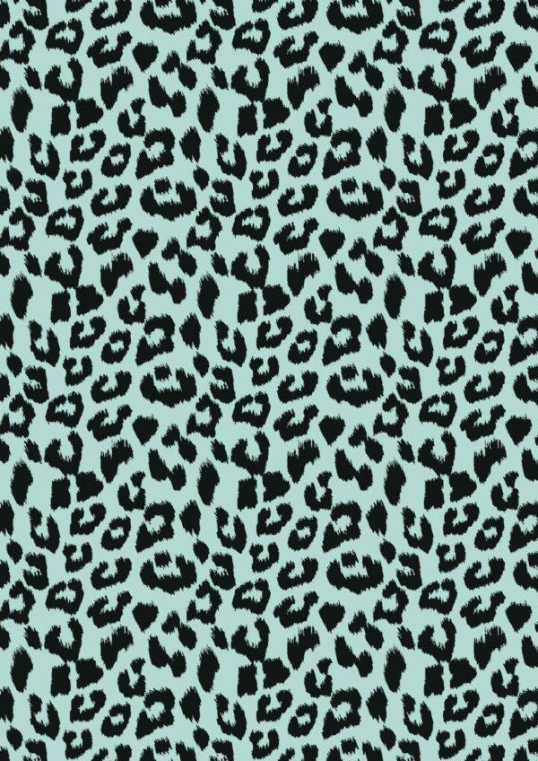 Cadeaupapier Leopard Panter Zwart Mint