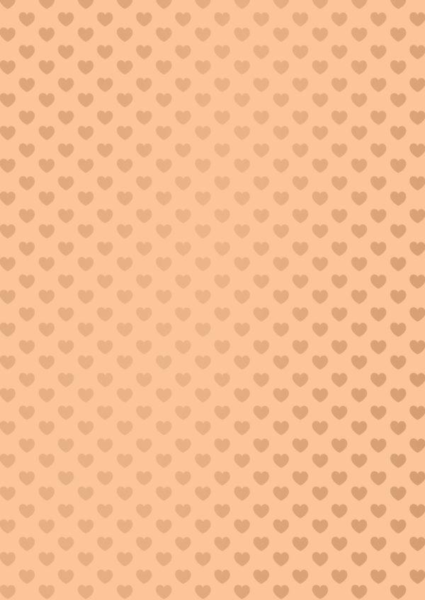 Pfirsichfarbenes Geschenkpapier mit Herz Motiv