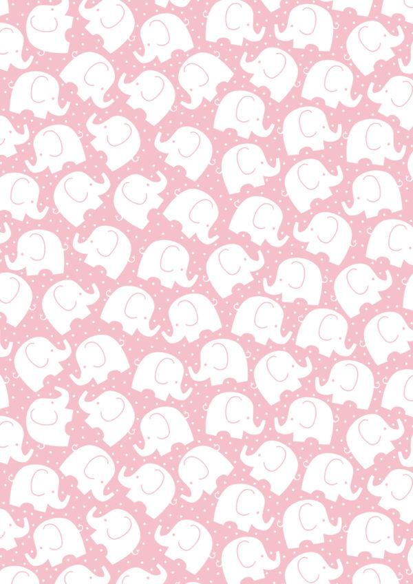 Rosa Geschenkpapier mit kleinen Elefanten