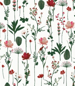 Geschenkpapier getrocknete Blumen Rot Grün